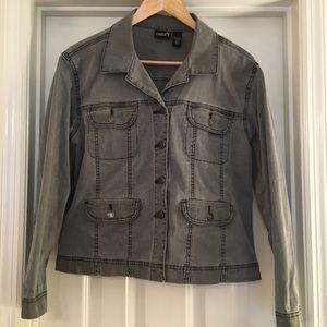 Chico's Jean Jacket Gray Medium Size 1